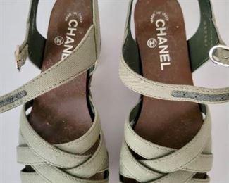 Item 211:  Chanel Women's Olive Green Leather Embellished Criss Cross Ankle Strap Platform Clog Sandals:  $265