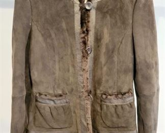 Item 197:  Armani Leather & Fur Lined Coat (size 4):  $225