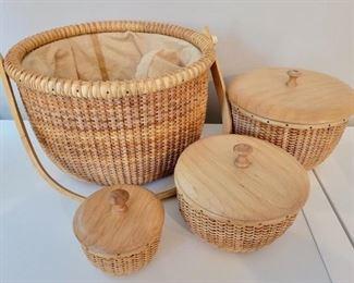 "Item 257:  Nantucket Nesting Baskets:  $62                                               Largest - 10"" x 6"""