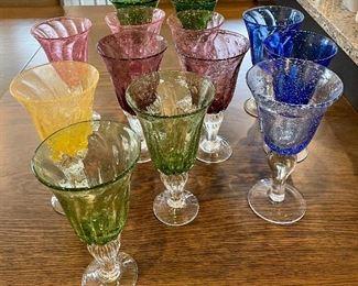 Item 275:  (13) Multi-color seeded Margarita glasses: $45