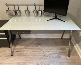 "Item 284:  Ikea Tempered Glass Desk, Chrome Base - 63""l x 32""h x 31.25""h:  $175"