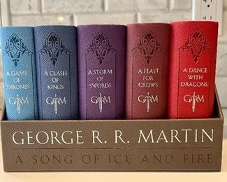 """Item 288:  George R.R. Martin """"A Song of Ice and Fire"""" Book Set - leather covers:  $65"""