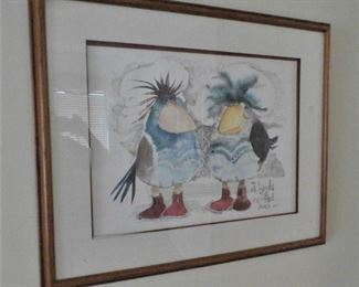 ONE OF SEVERAL WHIMISCAL FRAMED ART PIECES