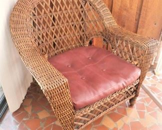 WIDE ARM WICKER CHAIR