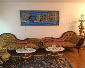 Victorian Pelham Shell and Leckie Couches MINT