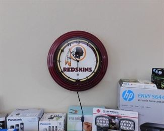Solid Steel Neon Redskins clock. Tested and working.