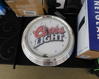 Neon Coors Light clock. Tested and working.
