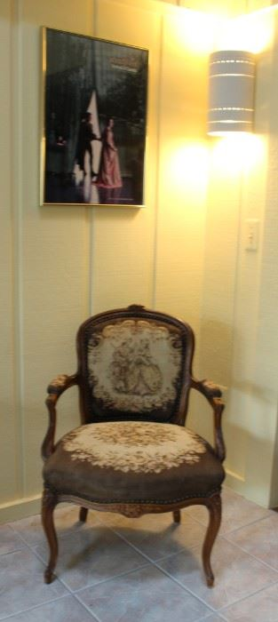 Lovely Wood and Upholstered Arm Chair and Poster Art