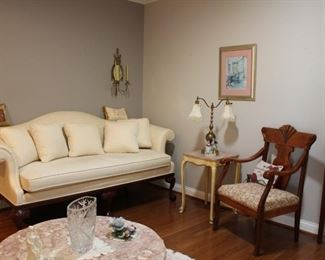 Pennsylvania House Sofa, Art, Lamp, Chair, Marble Top Table, Arched Carved Wood Chair, Vase
