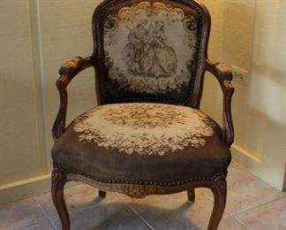 Wood Upholstered  Needlepoint Arm Chair