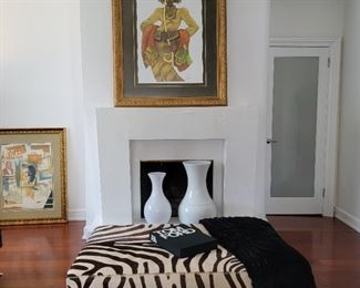 zebra table/ottoman: 18 x 51 x 33, artwork above fireplace: 55 x 43, artwork of pictures: 44 x 36