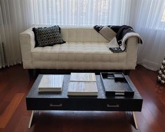 sofa: 32 x 79 x 31, coffee table: 15 x 48 x 24