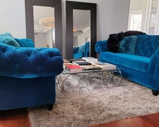 "sofas: 40 x 105 x 51, coffee table: 15 x 48 x 48, rug: 7'8"" x 9'7"", mirrors: 75 x 37"