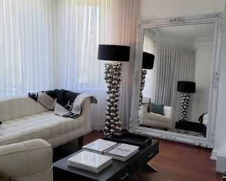 "mirror: 83 x 60, lamps (2 available): 64""h, coffee table: 15 x 48 x 24, sofa: 32 x 79 x 31"