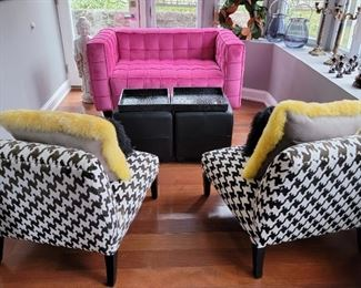 2 black cubes: 18 x 18 x 18, pink loveseat: 32 x 55 x 32, chairs: 30 x 27 x 33