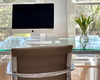 Desk/ Stainless Steel base with a thick glass top