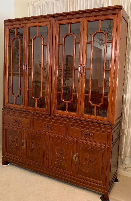 Stunning Rosewood Custom Made in Hong Kong  Hutch and Dining Table w 6 Chairs