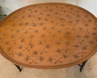 Vintage Kittinger Tray Coffee Table With Incised Thistledown Design