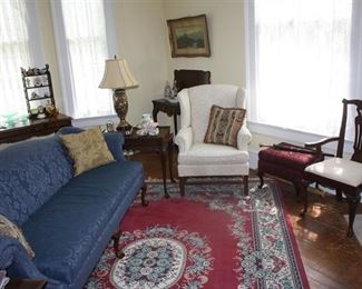 This is what we are calling the formal living room.  Everyone loves the blue sofa.  It's old and very comfortable.