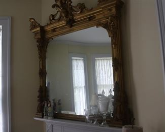 Large mirror over living room mantle.   circa 1870.   Good condition.