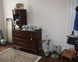 Mahogany dresser  and side  table.  Other miscellaneous treasures.
