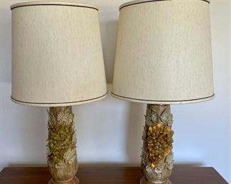 (2) Mid Century Modern Ceramic 3-Way Lamps - Grape & Leaf Motif  (Bottom Tier Of Lamp Lights Up)