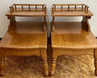 (2) Solid Maple Mid Century Tiered Side Tables
