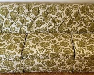 Green Floral Blended Cotton & Felt Mid Century Couch By Stratford