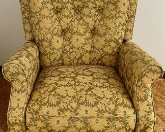 Green & Gold Floral Upholstered Mid Century Rocking Recliner