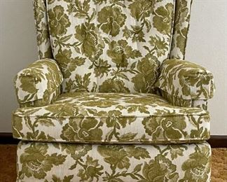 Mid Century Green Floral Upholstered Cotton Blend & Felt Tufted Swivel Rocker By Stratford Design Co