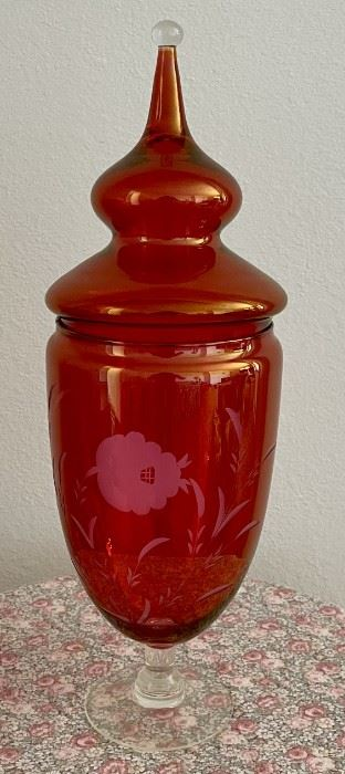 Large Cranberry Glass Cut To Clear Lidded Candy Dish