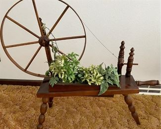 Vintage Wooden Spinning Wheel Planter With Faux Plant