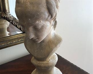 """$36 / Stone bust. About 15"""" tall. TO PURCHASE, TEXT 404-771-6060."""