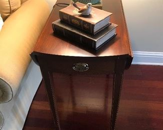 """$225 / each (have two of these) Mahogany drop leaf end tables. 28.5"""" deep x 28"""" tall. TO PURCHASE, TEXT 404-771-6060."""