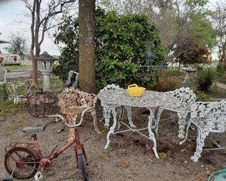 Vintage Toys / Cast Iron Table & Chairs / Metal Yard Decor / Concrete Garden Decor