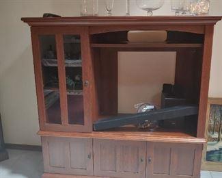 Sauder TV Stand, Glass Apothecary Jars --