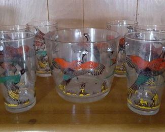 "Mid-Century Modern ""Flying Pheasants"" ice bucket and 6 tumblers"