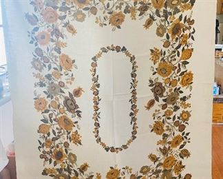"""Vintage Cotton Table Cloth by Luther Travis 55"""" x 70"""""""