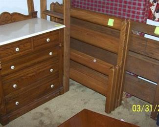 Marble top dresser, Ranch Oak full size bed, bunk beds