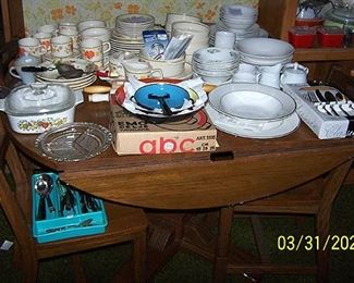 Ranch Oak drop leaf kitchen table and 4 chairs, Lenox Temperware dishes, etc...