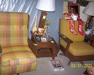Vintage Ranch Oak rockers, end table w/ magazine rack, lamp