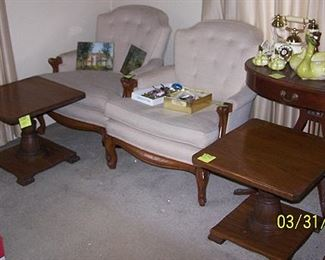 Matching Ranch Oak end tables, Mersman harp table, Occasional chairs, etc...