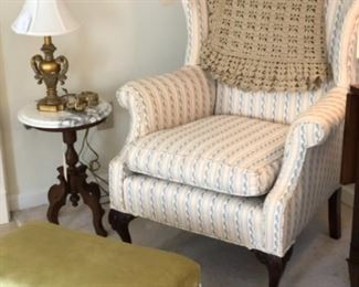 Pretty wing chair and ottoman