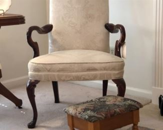 Upholstered open arm chair and needlepoint stool