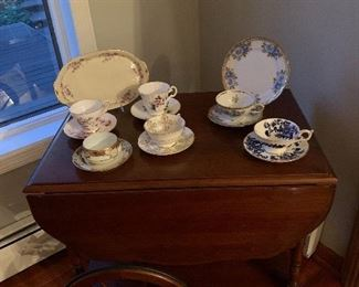 Dining Room  Tea cart, cups & saucers-Coalport, Royal Grafton, Winterling, Royal Kendall, Nippon