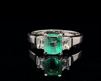 Emerald and Diamond Ring in Platinum