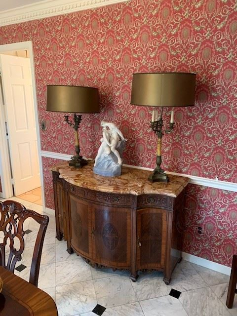 marble top carved and inlaid server/pair marble column lamps