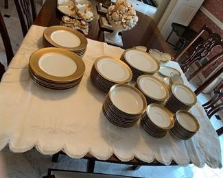 chargers to the left Limoges china to the right set of 10 / 7 pc place settings w/ extras