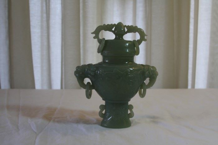 """Chinese Jade jar with lid - measures 6 3/8"""" tall, 5 1/4"""" wide - asking $495"""