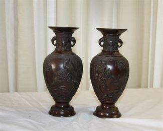 """pair of Japanese bronze vases, 20th c. measure approx. 8 3/8"""" tall 3 7/8"""" dia. - asking $495 for the pair."""